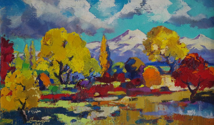 Autumn Palette Landscape Original oil Painting, Impressionism, Painting on canvas, Signed, One of a Kind - Image 0
