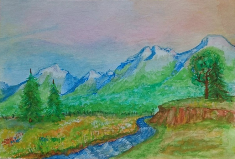 By The River - Spring landscape - Watercolors - Image 0
