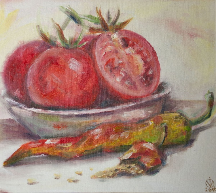 Tomatoes In A Bowl (18x20cm) original oil painting still life realistic impressionistic study from life small gift kitchen decor - Image 0