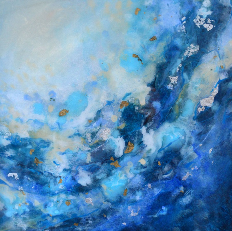 """Flow 58 - 12""""x12"""" Original Abstract Painting - Image 0"""