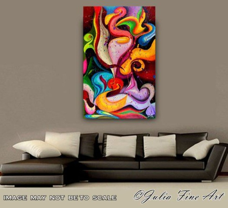 Abstract Painting, Surreal Abstraction, Contemporary, Ready to hang, Multicolor, Modern, Floral, Large Original Art ''Emotion'' by Julia Apostolova - Image 0