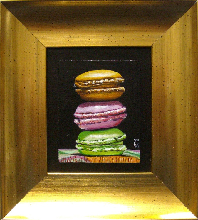Still life with Macaroons #18 in miniature framed - Image 0