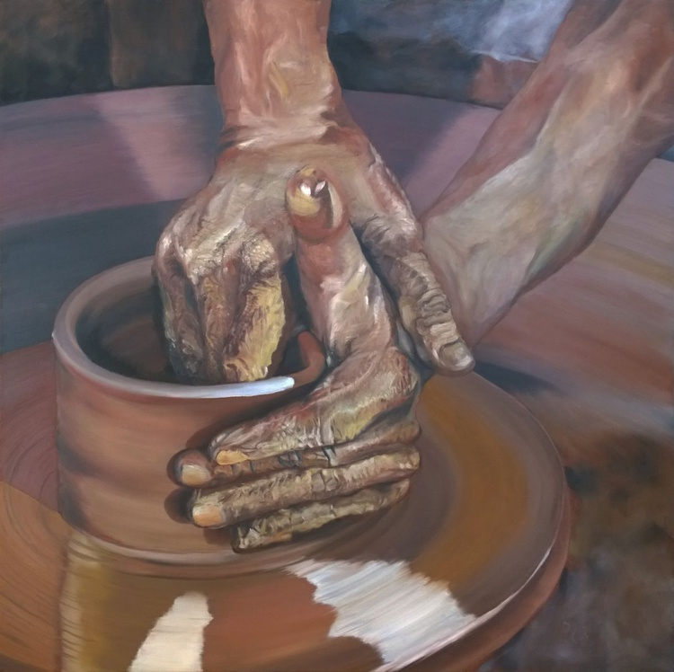 Hands of the wisdom, LARGE 32x32 inches 80x80cm Gallery Quality linen canvas - Image 0