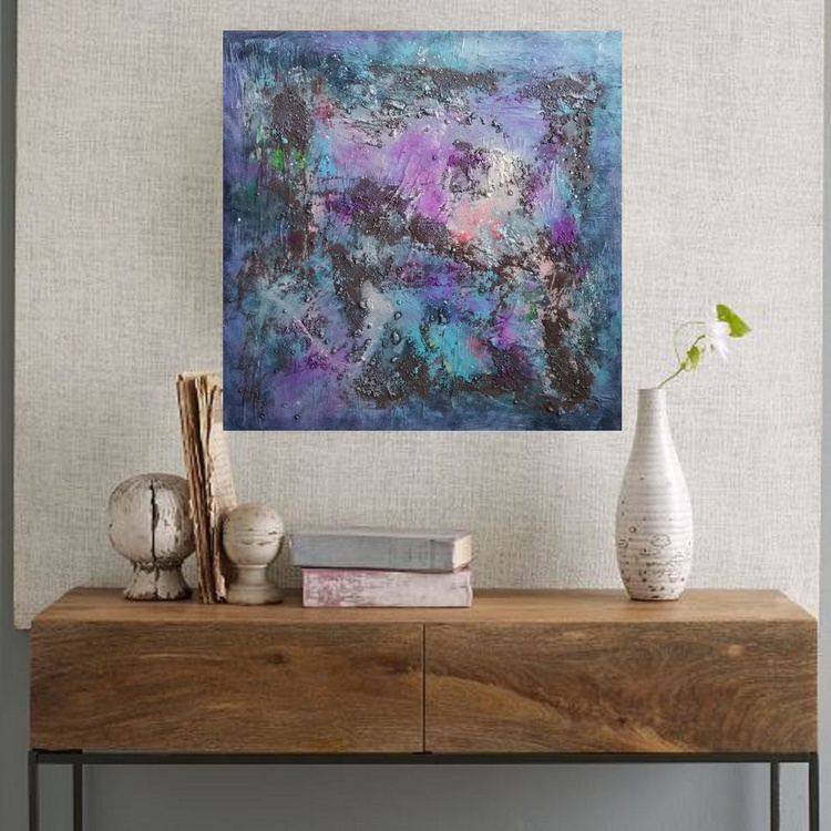 """31,5 by 31,5"""" , square abstract painting, Purple Rain - Image 0"""