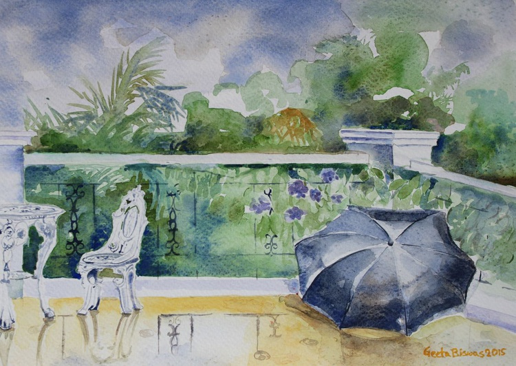 Rainy Day, small watercolor painting, gift, - Image 0
