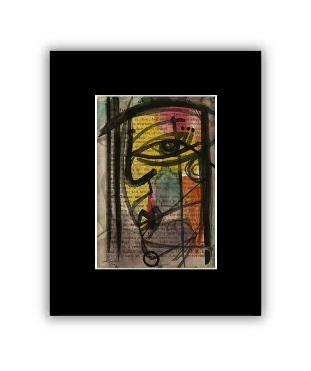 """I See 40"" on Antique Book Page - Abstract Watercolor Painting -"