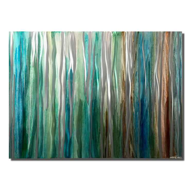 Watercolor Metallic | Silver & Blue, Cool Tones Striped Metal Artwork -