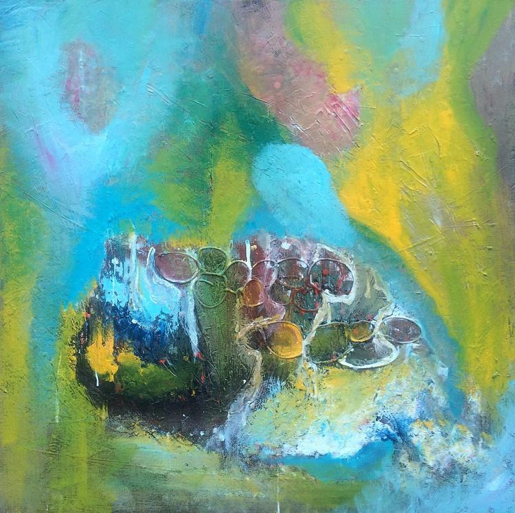 """La Isla Bonita""  ,  28x28 inches / 70x70cm -  // abstract painting // original painting - Image 0"