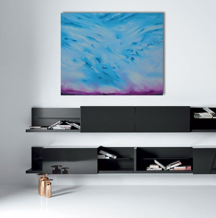 Peaceful - 100x80 cm, FREE SHIPPING TO UE/UK/US, Original abstract painting, oil on canvas - Image 0