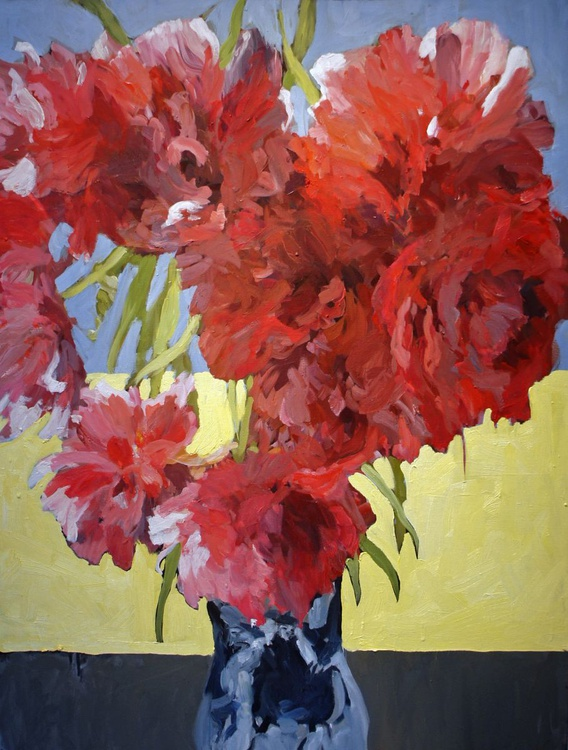 Red Tulips Double Late ll in a Chinese vase - Image 0