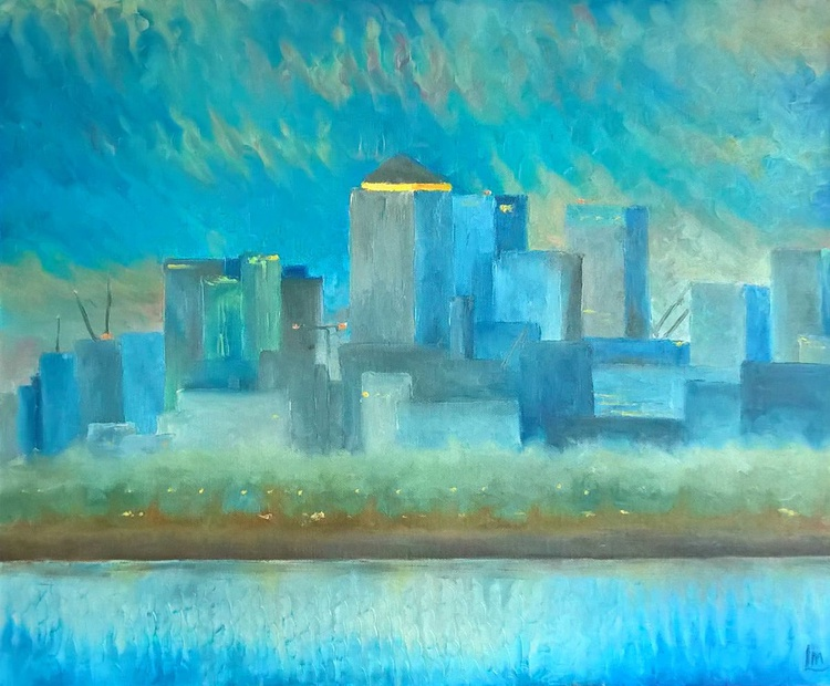 Finger Painting - Canary Wharf at Dusk - Image 0