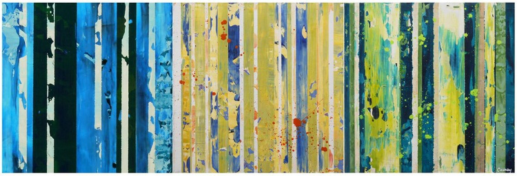 Three paintings - YOFFA, YIMELLO & VASCO - Original Triptych - Abstract Modern Stripe Paintings in Acrylic on Wood Panel - Image 0