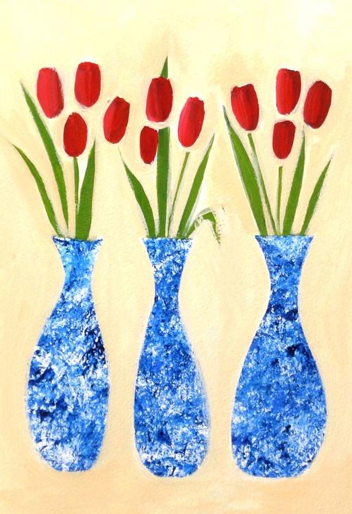Three Blue Vases - Image 0