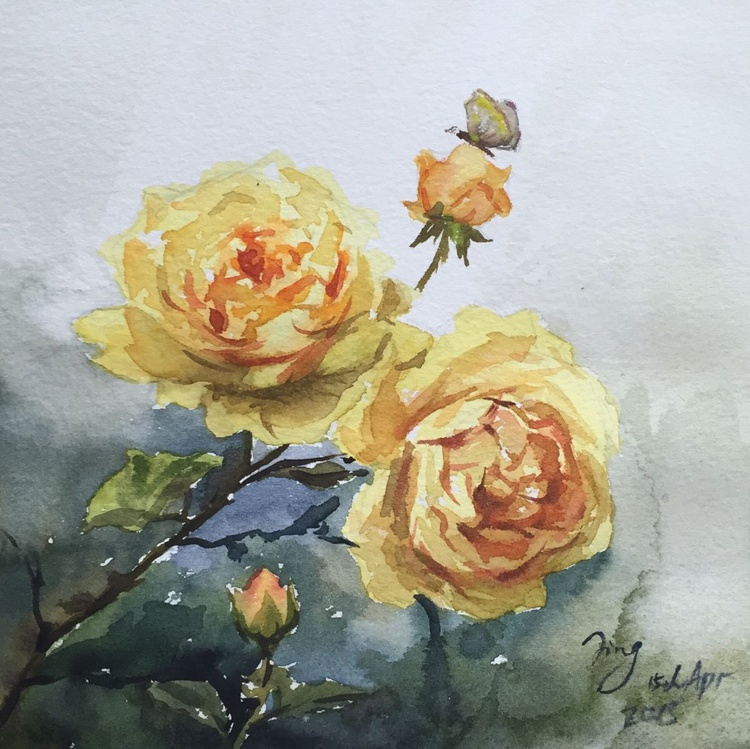 Roses and butterfly - Image 0