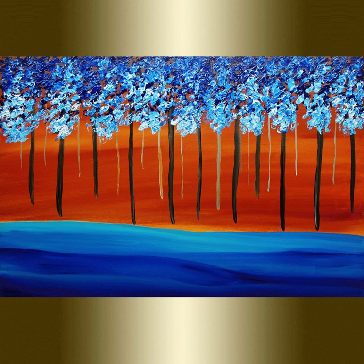 Landscape Tree Painting Deep Forest Blue Teal Brown Rust. - Image 0