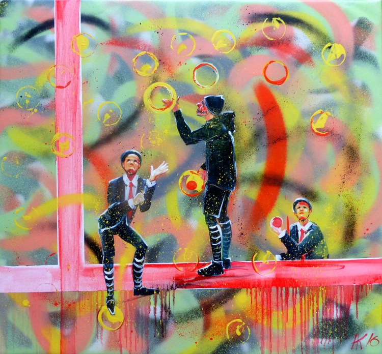 Jugglers, spray and oil painting 75x65 cm - Image 0