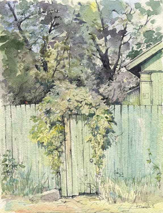 """Original watercolor """"Gate on Forest Street"""" -"""