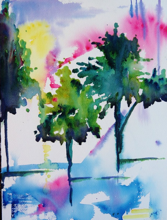 abstract watercolor painting  grove of trees - Image 0