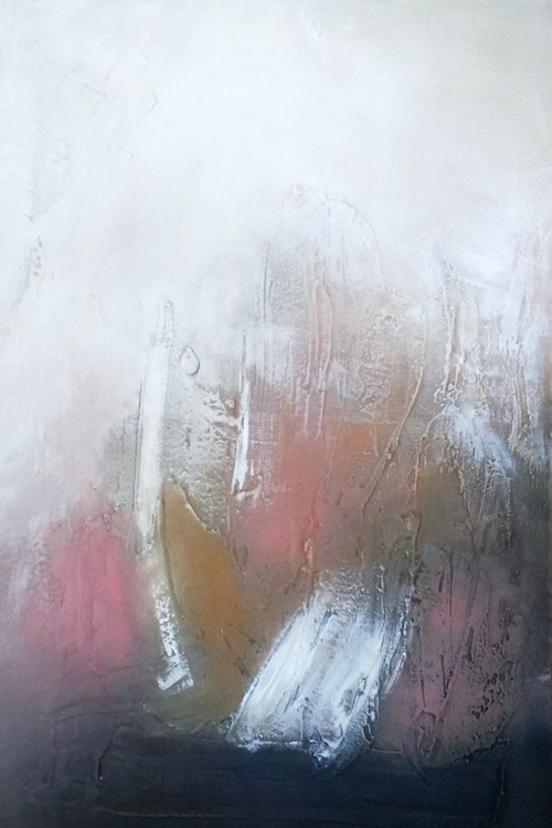 Textured abstract painting oil in canvas neutral colours - Image 0