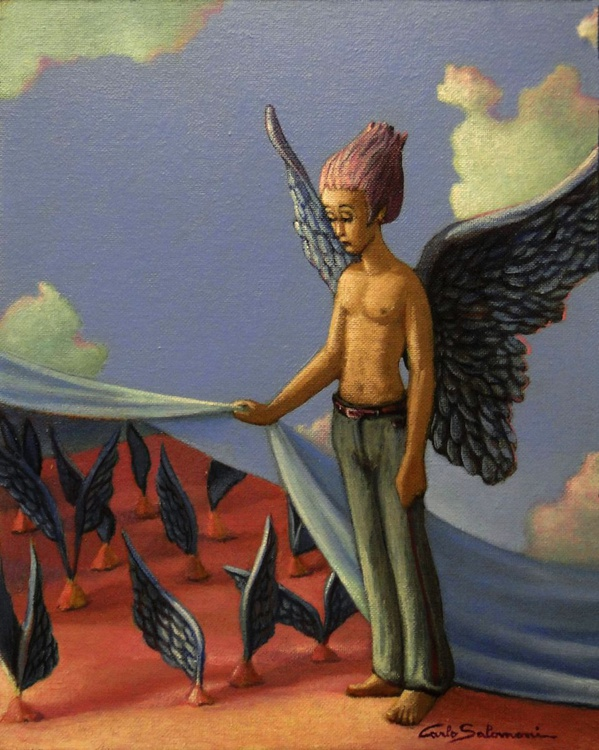 SMALL GROWING WINGS -(the Guardian Angel) -framed- - Image 0