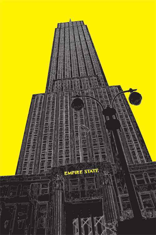 Empire State Building 2 NY on yellow -