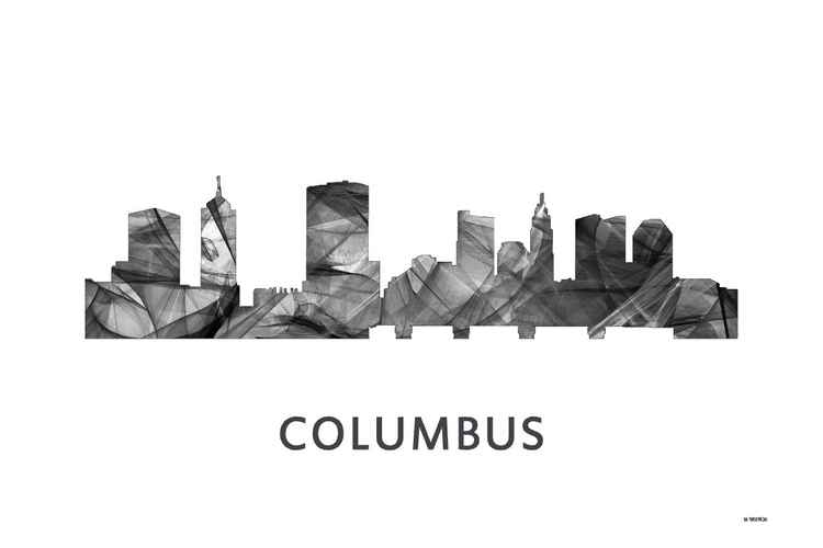 Columbus Ohio Skyline WB BW