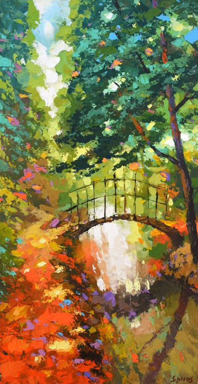 """The path - oil ac. Painting with Palette Knife on Canvas by Dmitry Spiros. Size: 16""""x32"""" (40 cm x 80 cm) - Image 0"""