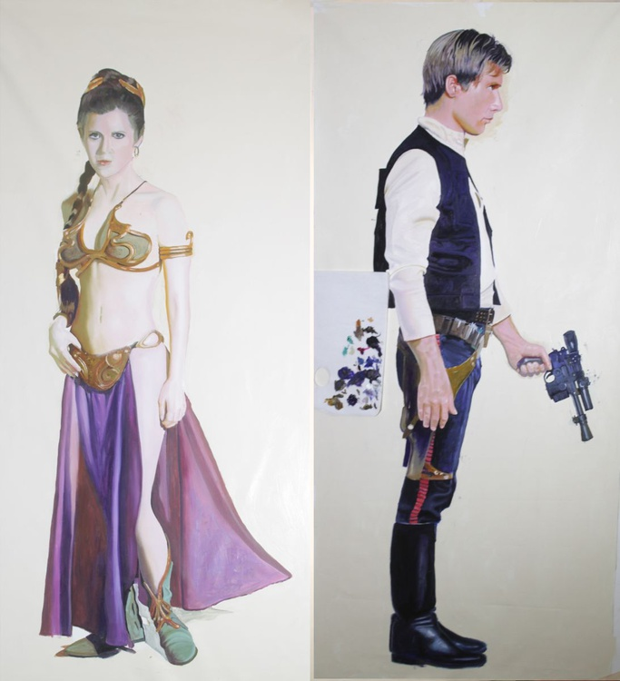 Princess Leia in Bikini and Han Solo with blaster by Lynchy (Half Price @ £1500) (Belt Up!) - Image 0