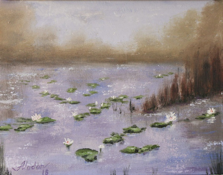 Lily pads on a foggy morning - Image 0