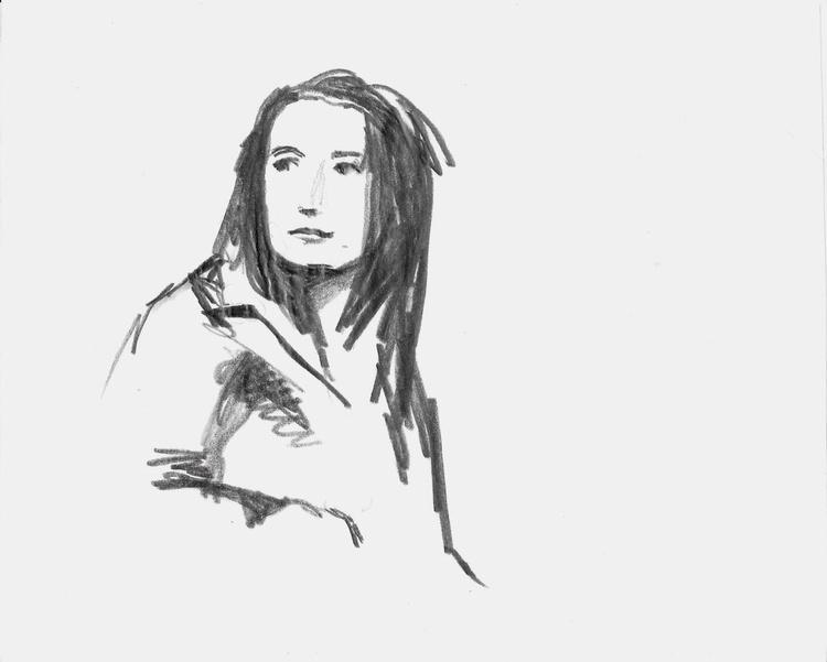 Portrait, pencil drawing 18x14 cm - Image 0