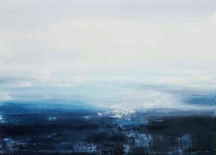 """Night Reflections"" Large abstract minimalistic landscape 48""x36"" -"