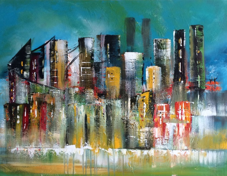 """""""Night Life 2"""" ,  Abstract Acrylic Painting - 28x36inches - Image 0"""