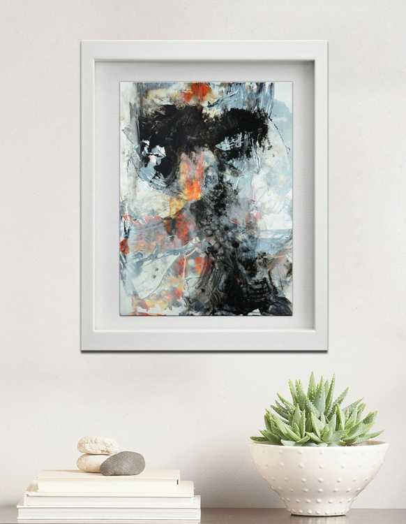 Abstract painting - 12x9 - Study on yupo paper no. 16-0308 , black, white , orange abstract painting - Image 0