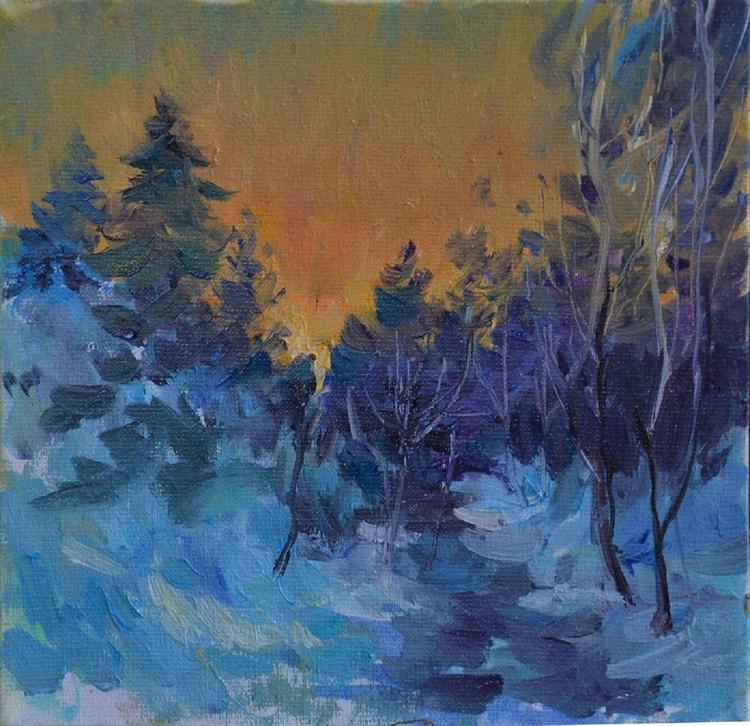 Winter landscape in the Carpathians 1 (Wood) - Image 0