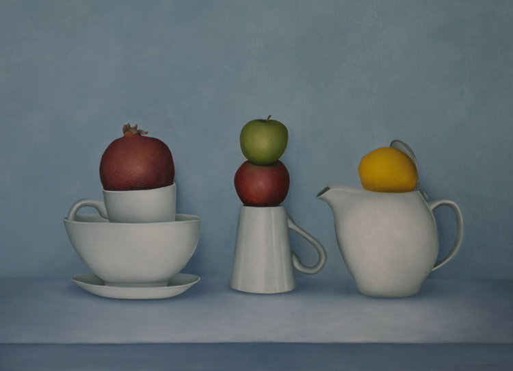 Still life with tea and fruit - Image 0