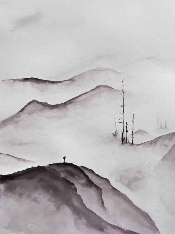 """Beyond"", original watercolour painting, 30x40cm -"