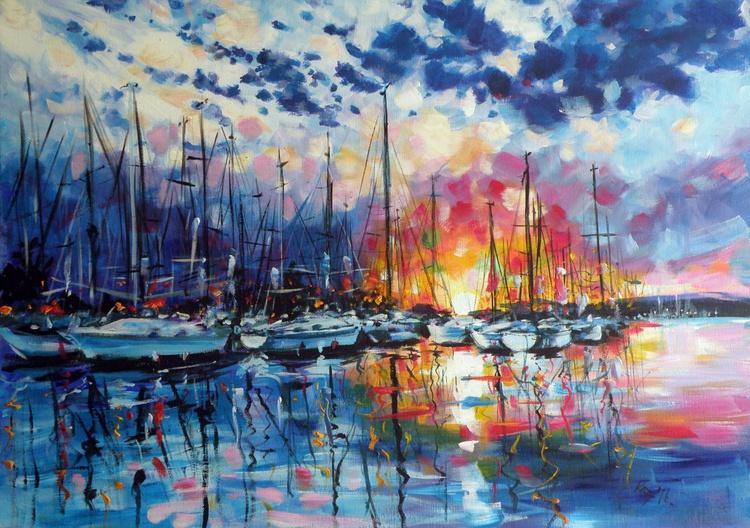 Colorful port (70 x 50 cm) - Image 0