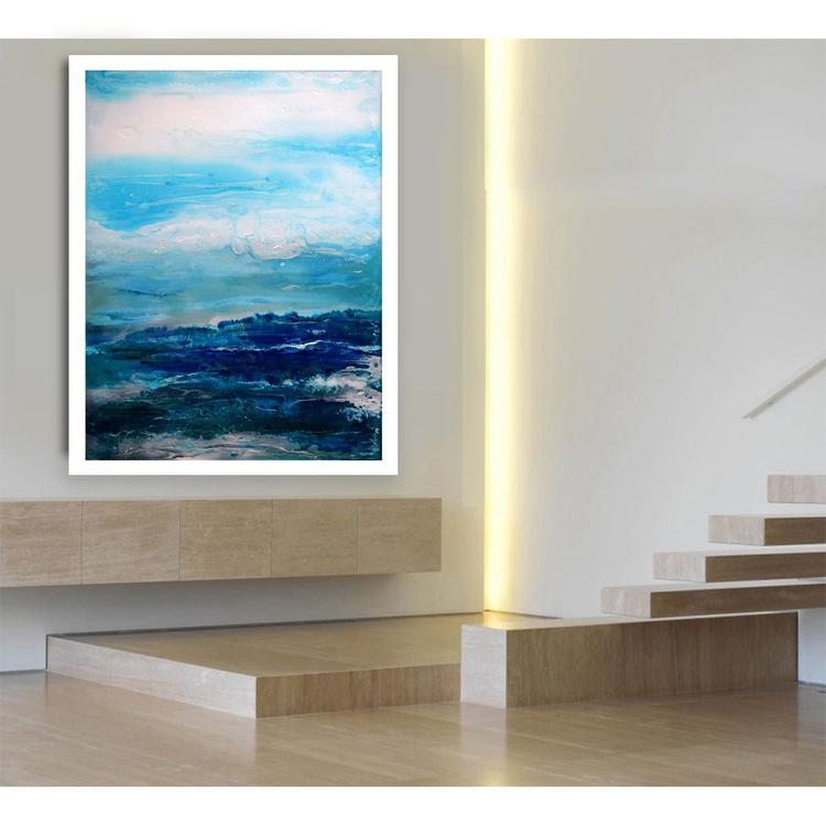 La mer bleue/ 60 cm x 45 cm. - Image 0