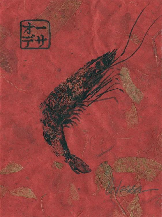 Shrimp Gyotaku (fish rubbing) Black on Red - Image 0
