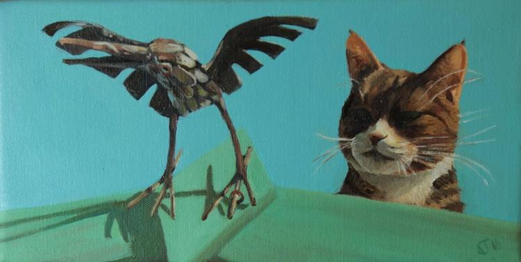 Cat Stalks Ornamental Bird - Image 0