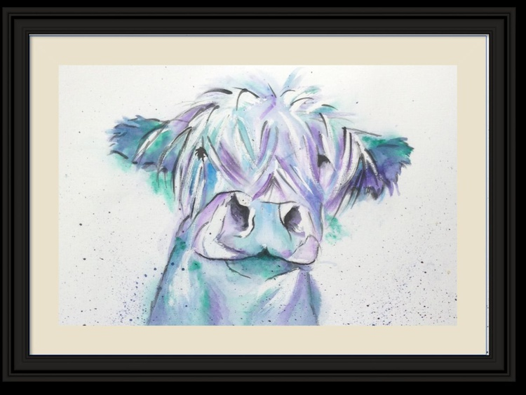 """""""Blue Moo, 11 X 15 inch watercolour mounted ready to frame - Image 0"""