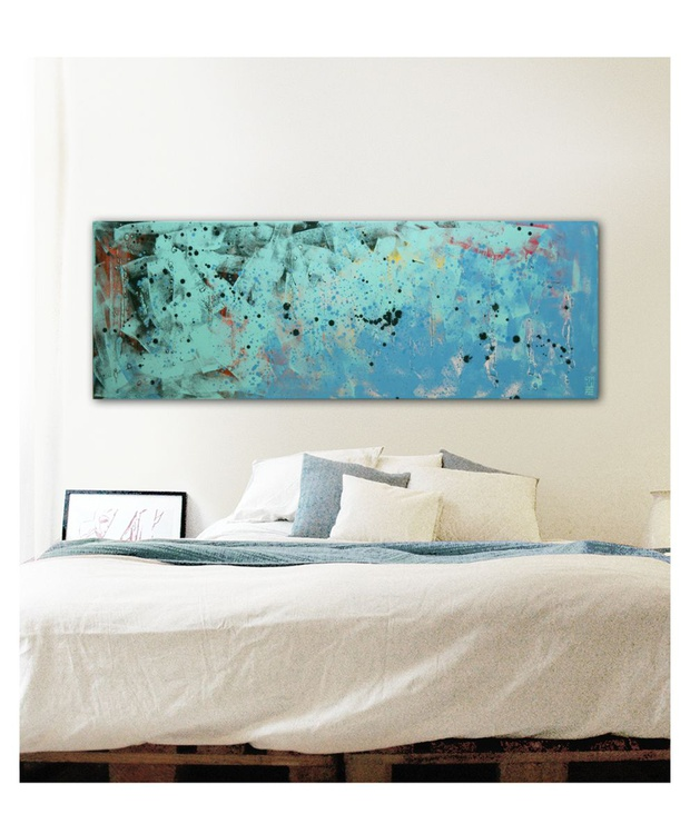 Abstract Painting - Landscape Turquoise Black Dots - B19 - Image 0