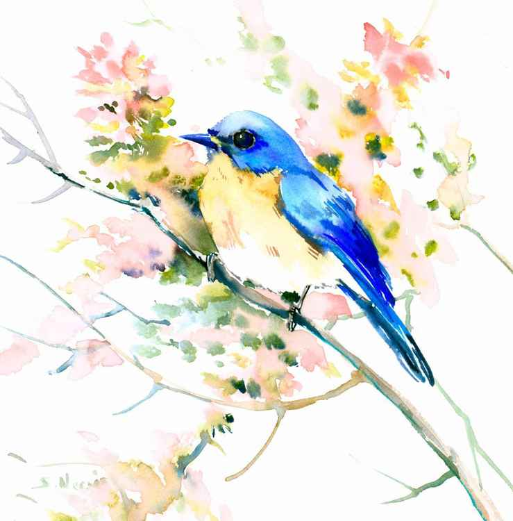 Bluebird on Pink Tree