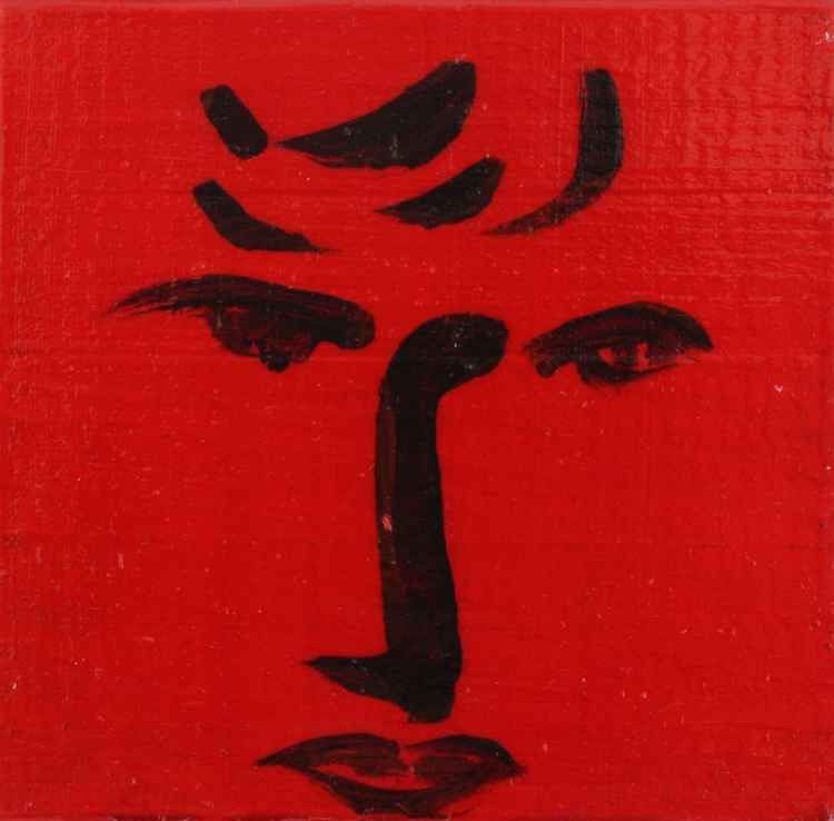 Face on red
