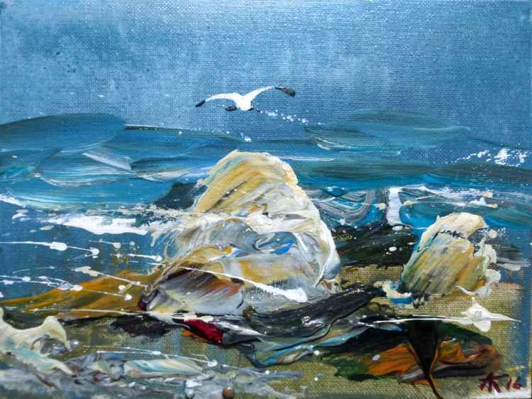 Seascape, original painting 24x18 cm -
