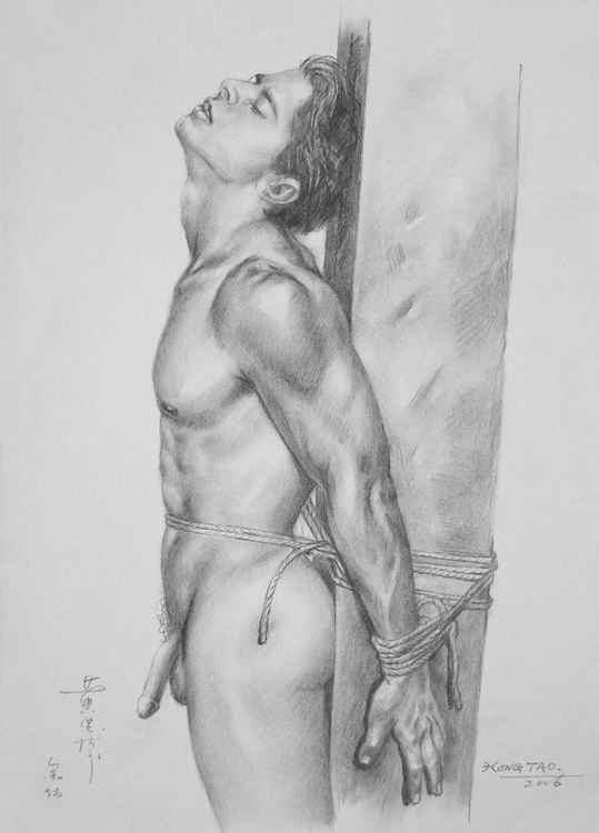 original art drawing charcoal male nude man  on paper #16-4-8 -