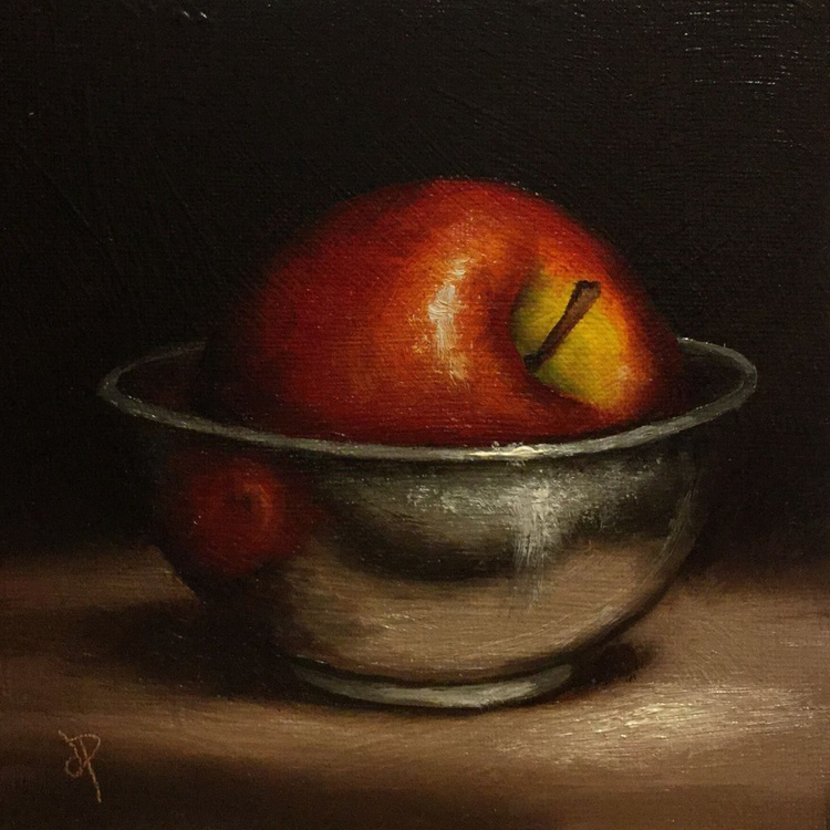 Red Apple in a Silver Bowl - Image 0