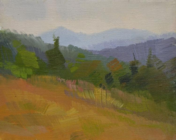 "Landscape painting titled ""Mountains smoking"" - Image 0"