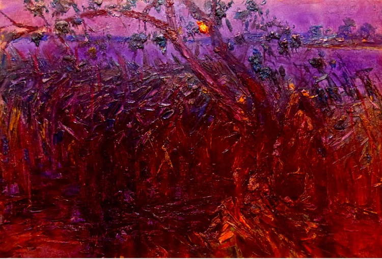 Summer night, oil painting 90x60 cm - Image 0