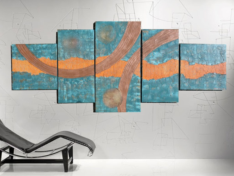 XXXL copper patina art 100x250x4 cm LARGE paintings OOAK OFFICE decor orange original abstract art big ready to hang painting acrylic on stretched canvas metallic textured glossy wall art by artist Ksavera - Image 0
